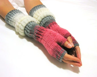 Pink Gray EXTRA LONG Fingerless Gloves, Merino Wool Mittens, Arm Warmers, Hand Knitted, Eco Friendly