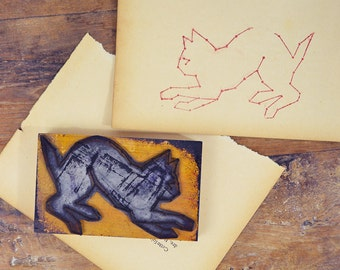 French rubber stamp Large Kitten Cat Feline vintage stamping