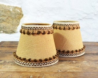 2 Burlap Lampshades FRENCH brown beige neutral clip on candle