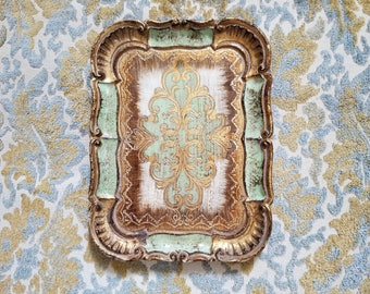 Small Vintage Florentine Tray - Italian Tray with Gold and Mint Green details - Jewelry Tray - Gift for Her - Wedding Gift