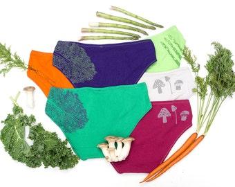 Women's Handmade Underwear Multi-Pack - Veggie Tails:  Kale, Mushroom, Carrot, Asparagus - Made to Order
