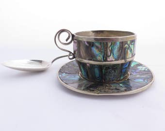 Vintage Espresso Demitasse Cup and Saucer Alpaca Silver and Abalone Shell Made in Mexico Maker Mark LHC Taxco