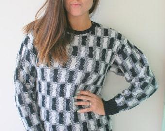 1980s CHECKERED Sweater...unicorn. black and white. retro. striped. rainbow. 1980s sweater. rad. fun. crop sweater. crop top. hipster. mod