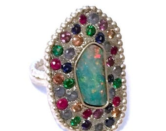 SPRING SALE Australian opal and multi zircon sterling silver ooak ring
