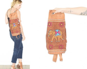 Vintage Embroidered Leather Backpack , BOHO Elephant Backpack , Leather Daypack , Embroidered Elephant Bag , Tribal Bag