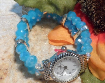 Watch Stretch Band Blue Faceted Stones