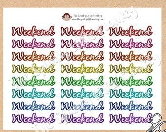 Glitter Weekend Planner Stickers - Printable pdf