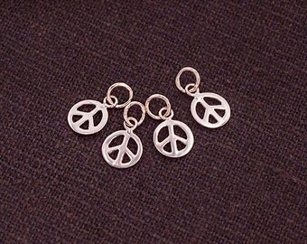 4 of 925 Sterling Silver Rose Gold Vermeil Style Peace Sign Tiny Charms 6mm.  :pg0354