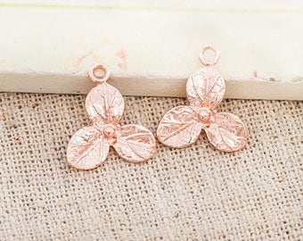 2 of 925 Sterling Silver Rose Gold Vermeil Style flower Charms 13 mm. :pg0424
