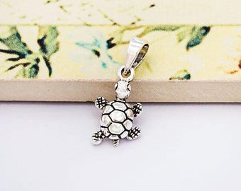 1 of 925 Sterling Silver Turtle Pendant 8x13mm.  Oxidized  Finish.  :th2575