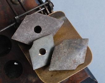 Lot of 3 antique plates, connectors, findings, parts