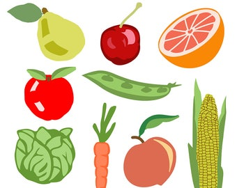 Fruit Clipart, Vegetable Clipart, Veggie Clipart, Food Clipart, Food Clip Art, Fruit Clip Art, Vegetable Clip Art, Digital Download