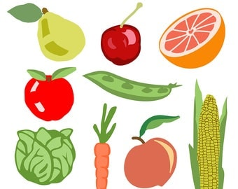 Food Clipart, Fruit Clipart, Vegetable Clipart, Garden Clipart, Apple Clipart, Carrot Clipart, Cabbage Clipart, Digital Download