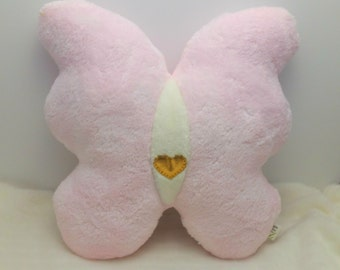 Pink White and Gold Heart Plush Butterfly Pillow