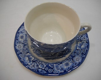 Vintage Liberty Blue Teacup & Saucer Staffordshire Ironstone Monticello FREE SHIPPING