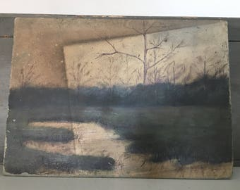 Antique Original Signed Oil Landscape Painting on Board