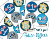 Baby Monthly Stickers, PLUS Just Born Sticker, Baby Boy Bodysuit Sticker, Month Sticker, Milestone Stickers, Cops Grey Blue Red Police 147B