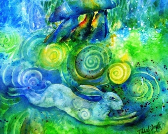 """Celtic art """"The Hare Remembers"""" 6 x 8 ins print of a  surreal watercolour painting  with  Haroldstown Dolmen, mythological,"""