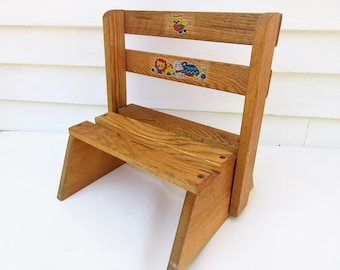 Vintage Wooden Folding Chair | Kids Step Stool | Wood Step Stool | Kids Chair | Convertible Chair