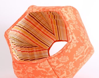Cat Ball Pet Bed made in Orange Woodlands Damask Cotton Fabric with Striped Lining - made in Washington