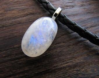Moonstone Necklace, Moonstone Jewelry, Gemstone Necklace, Mens Necklace, Mans Necklace, Orgonite Charged, Energy Healing, Leather Necklace,