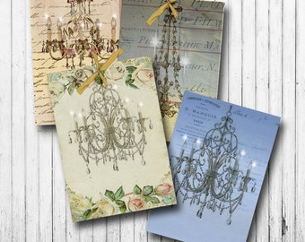 Chandeliers digital collage sheet-Chandelier printable-Vintage printables-ATC background-Printable gift tags-Card making-Papercrafts