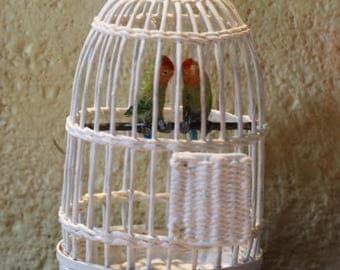 1:12th Scale White Birdcage with two (2) Peach Faces