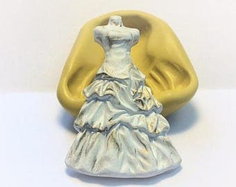 Wedding Dress mold- flexible silicone push mold / craft/ dessert/ mini food / soap mold/ resin/jewelry and more...