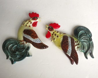 Vintage Rooster Wall Pockets Pair of Ceramic Roosters