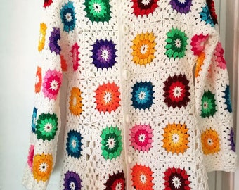 Crochet granny square white multicolour hippie boho coat jacket cardigan with pockets, hoodie jacket. Ready to ship! OOAK