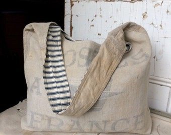 HOLIDAY BLOWOUT POSTES - reconstructed french post mail sack sling tote