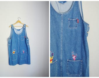 vintage denim jean overall dress-- winnie the pooh-- womens large xlarge