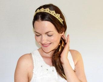 Lace Crown Headband, Gold Crown Headband, Bridal Headband With Ribbon, Bohemian Wedding, Gold Bridal Headpiece for Long Hair, MORE COLORS