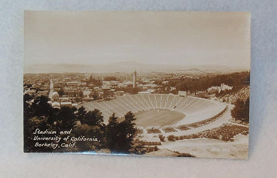 Vintage RPPC Sepia Postcard.. University Of California Stadium & Campus Berkeley