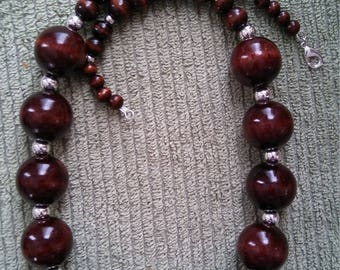 Brown Beaded Wood Necklace