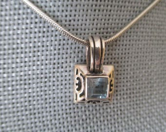 Vintage Square Pendant With Blue Stone
