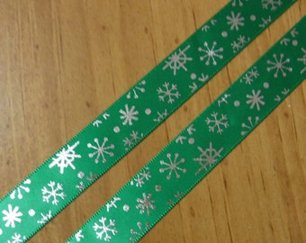 Green with Silver Snowflakes Ribbon 3 Yards