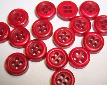 12 Red Shiny Thick Round Buttons Size 5/16""