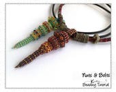 CRAW Bolt Pendant with Slider Beads, Beading Pattern, Instructions and Tutorial for Handmade seed bead Jewelry Pattern Download NUTS & BOLTS