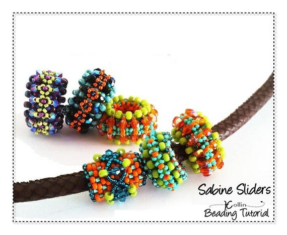 Beading Pattern Right Angle Weave slide on spacer beaded beads beadweaving Instructions DIY beaded Jewelry Tutorial PDF Download SABINE