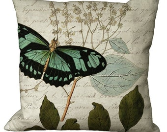 Green Butterfly on Botanical in Choice of 14x14 16x16 18x18 20x20 22x22 24x24 26x26 inch Pillow Cover