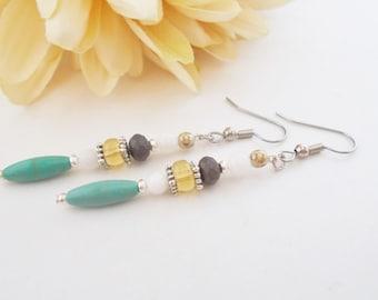 Boho Dangle Earrings, Blue Stone Drop Earrings, Turquoise Jewelry, Bohemian Hippie Earrings, Gray Crystal Earrings, Clip On, Gypsy Earrings