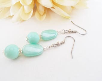 Mint Bridesmaids Earrings Gift for Her Beaded Dangle Earrings Sterling Silver Jewelry, Aqua Mint Earrings, Mothers Day Gift from Daughter