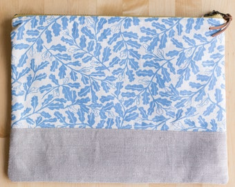 Large Pouch - Parlor in Denim, Hand-printed fabric