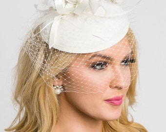 """Pearl White Fascinator - """"Juliet"""" Pearl White Round Felt Sinamay Hat w/ Feathers and Satin Ribbons"""