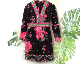 60s Black V Neck Iris Floral Pixel Print Mod Mini Dress Upcycled Fashion Bright Fuschia Hot Pink Green with Lurex Floral Hem