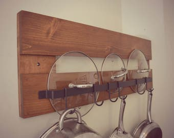 Mabry Rustic Farmhouse Industrial Pot Rack / Utensil Holder
