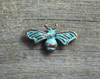 Blue Bee copper brooch