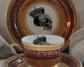 CLOSEOUT - Gorgeous Red & Gold Skull SMALL Tea Trio, CUSTOMIZABLE, Skull Tea Set, Skull Teacup, Skull China, Personalized Dinnerware