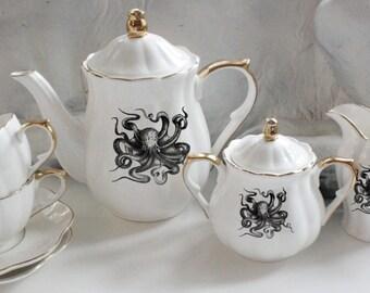 Gold Octopus Tea Set, Kraken Tea Set, Nautical Teacup, CUSTOMIZABLE, White Gold Tea Set, Octopus China, Sealife Dishes, Octopus Plates